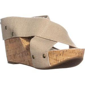 Lucky Brand Miller2 Woven Cork Wedge Tan Sandals
